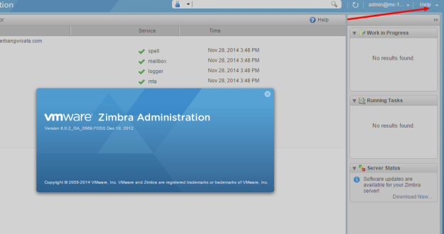 Zimbra Administration Console  Server Statistics Version
